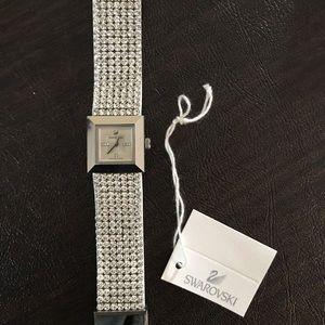 Swarovski Crystal White Leather Watch